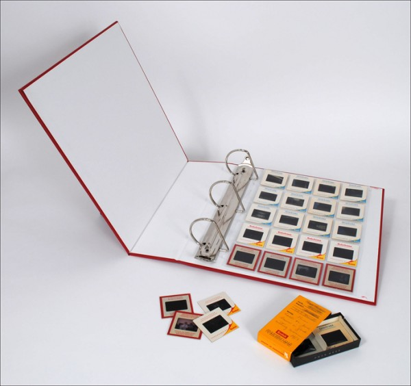 35mm slides, archival binder, clear slide pages