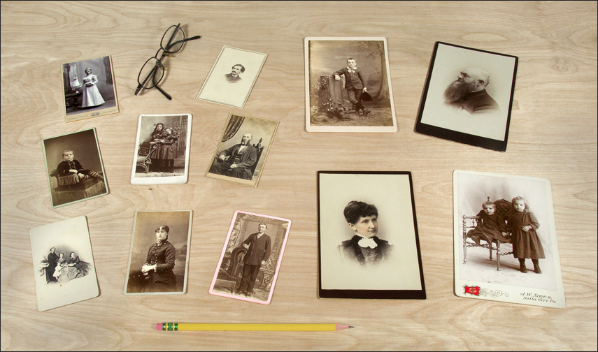 Each Of The 8 Smaller Cards On Left Are Known Individually As A Carte De Visite While 4 Larger Right Cabinet