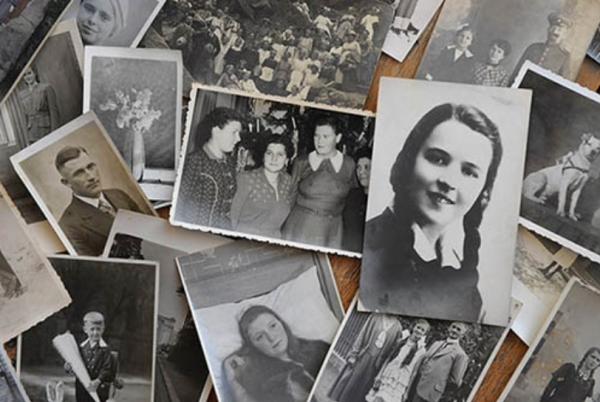 organize family photographs loose on table